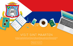 Visit Sint Maarten concept for your web banner or. Royalty Free Stock Photo