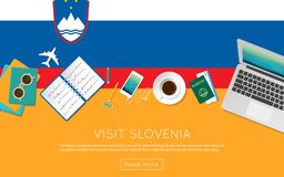 Visit Slovenia concept for your web banner or. Visit Slovenia concept for your web banner or print materials. Top view of a laptop, sunglasses and coffee cup on Royalty Free Stock Photos
