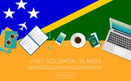 Visit Solomon Islands concept for your web banner. Visit Solomon Islands concept for your web banner or print materials. Top view of a laptop, sunglasses and Stock Photography