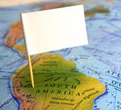 Visit South America. Map of South America with blank flag Stock Image
