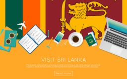 Visit Sri Lanka concept for your web banner or. Visit Sri Lanka concept for your web banner or print materials. Top view of a laptop, sunglasses and coffee cup Stock Photo