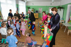 A visit by staff at a kindergarten in Kaluga region of Russia. Royalty Free Stock Images