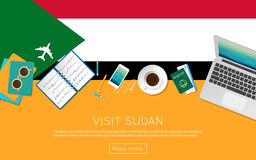 Visit Sudan concept for your web banner or print. Stock Photo