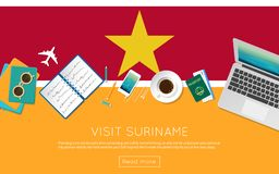 Visit Suriname concept for your web banner or. Visit Suriname concept for your web banner or print materials. Top view of a laptop, sunglasses and coffee cup on Royalty Free Stock Images