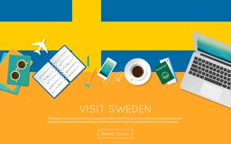 Visit Sweden concept for your web banner or print. Visit Sweden concept for your web banner or print materials. Top view of a laptop, sunglasses and coffee cup Royalty Free Stock Photo