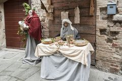 A visit to the beautiful medieval town of Umbria Region, during the Christmas holidays, with nativity scene of life-size statues. GUBBIO, ITALY - 08 DECEMBER Royalty Free Stock Images