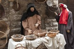 A visit to the beautiful medieval town of Umbria Region, during the Christmas holidays, with nativity scene of life-size statues. Gubbio, Italy - 08 December Stock Photo