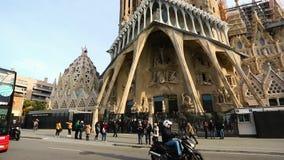 Visit to Church of the La Sagrada Familia stock video