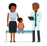 A visit to the doctor. The doctor says the good news the mother of the child girl of a hospital patient. The news about the recovery. African American people vector illustration