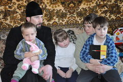 A visit to the priest of Holy Transfiguration Church in the city of Gomel (Belarus) to needy families with children on 11 April 20 Stock Photos