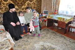 A visit to the priest of Holy Transfiguration Church in the city of Gomel (Belarus) to needy families with children on 11 April 20 Royalty Free Stock Images