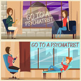Visit To Psychiatrist Flat Banners. Horizontal flat banners with visit to psychiatrist including specialist and girl patient on couch isolated vector Royalty Free Stock Image