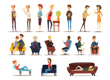 Visit To Psychologist Set. Of specialists and persons needing in advice including family couple isolated vector illustration Stock Image