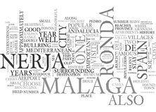 A Visit To Ronda Malaga And Nerja Spain Word Cloud. A VISIT TO RONDA MALAGA AND NERJA SPAIN TEXT WORD CLOUD CONCEPT Royalty Free Stock Images