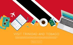 Visit Trinidad and Tobago concept for your web. Visit Trinidad and Tobago concept for your web banner or print materials. Top view of a laptop, sunglasses and Stock Photos