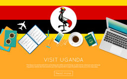 Visit Uganda concept for your web banner or print. Royalty Free Stock Images