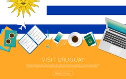 Visit Uruguay concept for your web banner or. Visit Uruguay concept for your web banner or print materials. Top view of a laptop, sunglasses and coffee cup on Stock Image