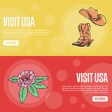 Visit USA Touristic Colorful Web Banners. Visit USA banners. Cowboy boots and hat, rhododendron flower hand drawn illustrations on colored backgrounds. Web Royalty Free Stock Photo