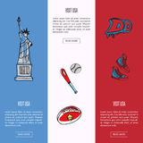 Visit USA Touristic Vector Web Banners. Visit USA banners. Statue of Liberty, baseball, rugby, sneakers, graffiti hand drawn vector illustrations on color Stock Photo