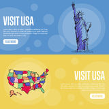 Visit USA Touristic Vector Web Banners Royalty Free Stock Image