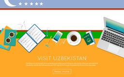 Visit Uzbekistan concept for your web banner or. Visit Uzbekistan concept for your web banner or print materials. Top view of a laptop, sunglasses and coffee Stock Photography