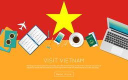 Visit Vietnam concept for your web banner or. Visit Vietnam concept for your web banner or print materials. Top view of a laptop, sunglasses and coffee cup on Royalty Free Stock Photography
