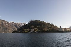 View of Como Lake, Italy. Visit the villages of Como Lake. Boat trip with a view of the coast royalty free stock photos
