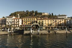 View of Como Lake, Italy. Visit the villages of Como Lake. Boat trip with a view of the coast royalty free stock photography