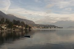 View of Como Lake, Italy. Visit the villages of Como Lake. Boat trip with a view of the coast royalty free stock photo