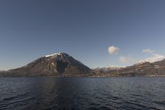 View of Como Lake, Italy. Visit the villages of Como Lake. Boat trip with a view of the coast stock image