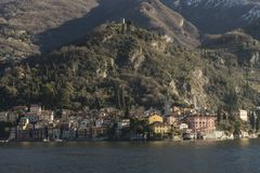 View of Como Lake, Italy. Visit the villages of Como Lake. Boat trip with a view of the coast stock photos
