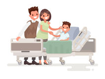 Visit of visitors to the patient to the hospital. Parents with s. Ick boy lying in a medical bed. Vector illustration in a flat style Stock Images