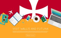 Visit Wallis and Futuna concept for your web. Visit Wallis and Futuna concept for your web banner or print materials. Top view of a laptop, sunglasses and Royalty Free Stock Photos