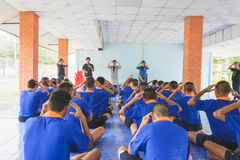 Visit youth and do activities together in dept of corrections Juvenile Detention center. Nakhonsawan Thailand, 5 Apirl 2017: visit youth and do activities royalty free stock photography