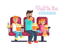 Visita al cine con el padre Poster Illustration Imagen de archivo libre de regalías