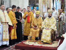 Visita al _10 de Sviatoslav Shevchuk de la iglesia del capítulo de Chortkiv Foto de archivo