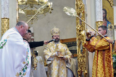 Visita al _12 de Sviatoslav Shevchuk de la iglesia del capítulo de Chortkiv Foto de archivo