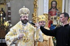 Visita al _17 de Sviatoslav Shevchuk de la iglesia del capítulo de Chortkiv Foto de archivo libre de regalías