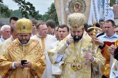 Visita al _27 de Sviatoslav Shevchuk de la iglesia del capítulo de Chortkiv Foto de archivo