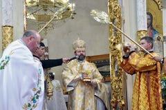 Visita ao _12 de Sviatoslav Shevchuk da igreja do capítulo de Chortkiv Foto de Stock