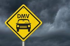 Visita ao sinal de aviso da estrada de DMV fotografia de stock