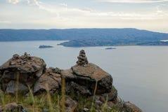 Visita de la isla de Titicaca imagen de archivo libre de regalías