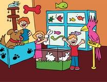 Visita del almacén del animal doméstico stock de ilustración