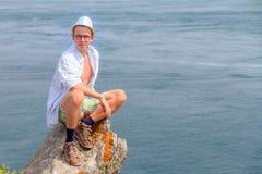 Visita di estate a Pointe du Grouin Fotografia Stock Libera da Diritti