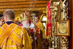 A visita do patriarca da igreja ortodoxa ucraniana Kiev Foto de Stock