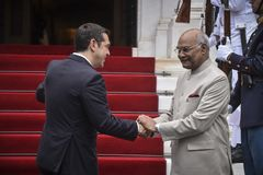 Visita do presidente Ram Nath Kovind do ` s da Índia em Grécia Fotografia de Stock Royalty Free