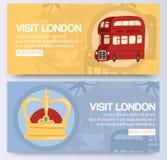 Visita e para descobrir Londres na ilustração vermelha do vetor da bandeira do ônibus do ônibus de dois andares Veículo do serviç ilustração do vetor
