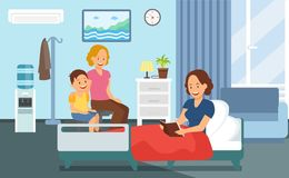 Visita paciente en el hospital Ward Flat Illustration libre illustration