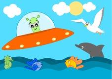 Visita straniera del fumetto sveglio l'illustrazione divertente del mare per i bambini Immagine Stock