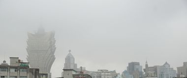 Visita turística de excursión en Macao durante el tiempo de la lluvia imágenes de archivo libres de regalías